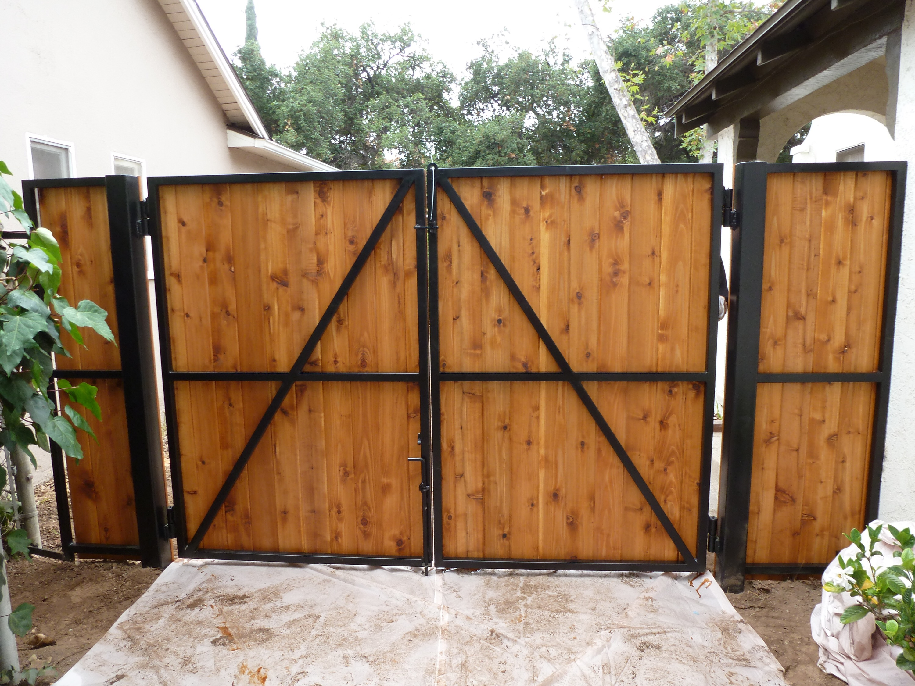 Wrought Iron Frame With Wood Overlay Double Swing Gates